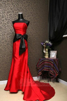 Fashionable Customizable Free Shipping Red Thick Satin Small Fish Tail With Black Sashes Slim Elegant Evening Dress