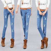 2013 autumn personalized letter applique slim elastic jeans female skinny pants