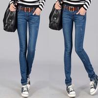 2013 spring casual slim pencil pants mid waist jeans female skinny pants