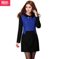 Autumn and winter plus size small lapel woolen one-piece dress basic skirt winter o-neck long-sleeve dress