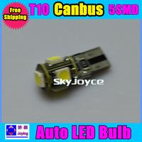 100PCS/LOT car w5w 194 T10 5 led SMD 5050 5smd canbus obc error free led bulb lamp light free shipping
