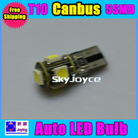 100PCS/LOT car w5w 194 T10 5 led SMD 5050 5smd canbus obc error free led bulb lamp light free shipping