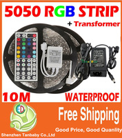 10M 5050 LED Strip Waterproof RGB Warm White Cool White + 44Key Remote +6A Transformer for Home Party Decoration Lights