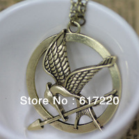#040 Wholesale Vintage Punk Hunger Game Movie LOGO Bird Double-sided Pendant Necklace For Women & Men 50pcs/lot Free Shipping
