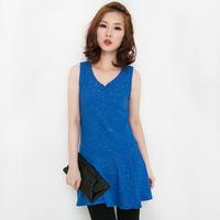 High quality plus size clothing blue pleated skirt plus size plus size one-piece dress vest basic skirt