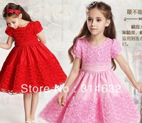2014 New Arrived Children Rose flower dresses wedding dress Girls Puff Sleeve skirt The flower girl dresses,princess skirt 5/lot