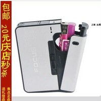 Focus quality ultra-thin automatic cigarette case lighter 10 male women's