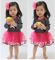 2013 New Arrival Children Girl Dress Long Sleeve O-neck Patchwork Design Tutu Layered Dress Kids Girl Princess Dress Summer