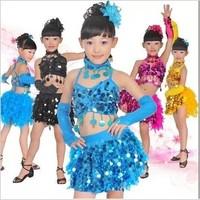 [10set-free ship] Female child Latin dance costume paillette tulle dress child dance clothes Latin stage formal dress