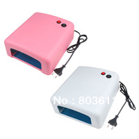 new 1 PCS White/Pink Professional 36W 220V UV Nail Art Gel Curing Polish Light Dryer + 4 Tube Lamp free shippng