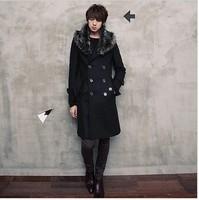 Free shipping 2013 slim overcoat wool coat fur collar overcoat male outerwear male overcoat