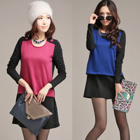 Plus size clothing autumn mm one-piece dress color block ol elegant fashion all-match one-piece dress
