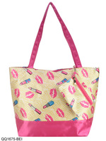 2 Colors Free Shipping 2014 New Arrival  Women's Tote Bag Charm Lips&Lipstick Shoulder Bags Printing Handbag With Purse QQ1675