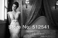 See Through Back Mermaid Trumpet Deep V Neck Wedding Dresses 2014 Appique Pearls Beads Organza yk8R150
