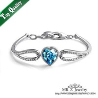 New Arrival 2014 Christmas Gifts Infinity Crystal Heart Bracelets Fashion Jewelry For Women Free Shipping