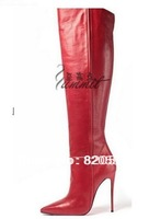 Free shipping 2014 New Women Motorcycle Boots Genuine Leather Over Knee Pointed Toe Snow Boots Thigh High Heels Boots Red