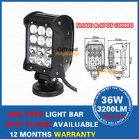 "2 PCS 36W 7"" Cree LED Work Light Bar Pencil Beam Spot Lamp Offroad 4WD ATV Boat Truck,Wholesale car light,car external light"