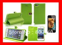 Soft Feel Leather Case for iPhone 5 5S 5Gtand Wallet Flip Book with Card Holder +1Screen Protector Free Shipping