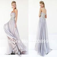 Silver Color Empire Waist Appliques Chiffon Floor Length Custom Made Prom Dress Elegant 2014 Spring