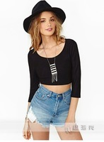 Hot sales sexy long-sleeved top club ladies cross backless hollow-out cultivate one's morality tight t-shirts