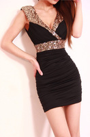 Free Shipping New Womens Ladies 4 Color Deep V Neck Sleeveless Sequin Glitter Empire Waist Party Dress