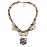 2013 fashion accessories vintage gem pendant sweater necklace mental luxury collar choker women necklace 6905