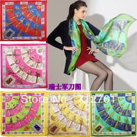 Female scarf swiss army knife pattern silk scarf, sericiculture thin silk translucent air conditioning bandanas