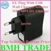 HOT SELLING 2pcs*Universal EU Plug USB Power Adapter DC Travel Power Adapter Converter MP3 MP4 DV AC USB Wall Charger Adapters