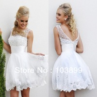 Innovative Design 2014 A-line White Organza Short Above Knee See Through Backless Appliques Sparkle Pearls Prom Dress