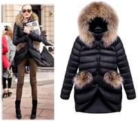 Free shipping women's fahion Slim medium-long 2013 plus size raccoon fur thickening down coat Down & Parkas