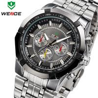 HOT SALE! WEIDE New Fashion Sports Men Quartz Watch Stainless Steel Men Wristwatch 3ATM Waterproof