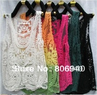 Hot Fashion ! Embroidery Floral Lace Crochet Blouse Tee Top T Shirt Sleevess Vest Size M L XL
