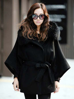 1PC Black Top Sale Women Ladies Girls Fashion Casual Korean Style Batwing Sleeve Skirt Shape Winter Warm Woolen Coat with Waist
