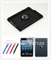 Luxury Magnetic 360 Degree Rotating Flip Leather Case Sleep&Wake Up For iPad Mini+Screen protector+Stylus pen Wholesales 30pcs