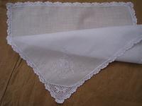 Lace decoration 100% cotton handkerchief embroidered handkerchief