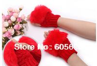ZH007 Free Shipping Winter Autumn Warmer Women Faux Rabbit Fur Hand Wrist Knitted Fingerless Gloves