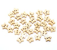 Pack of 200 Star Buttons 2 Holes Wooden Buttons,13x13mm+Free shipping