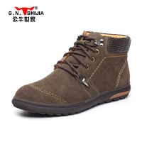 2013 men's thermal plus wool suede cowhide waterproof high-top shoes casual male cotton-padded shoes