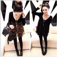2013 autumn and winter female sweet all-match slim chiffon patchwork peter pan collar long-sleeve basic one-piece dress