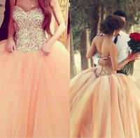 2014 Christmas Ball Gown Wedding Dresses Sexy Sweetheart Rhinestones Pleated Tulle Pink Elegant vestidos de novia Bridal Gowns