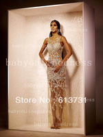 2014 Sexy Prom Dresses Lace Crew Neck Illusion Sleeveless Sheer Beaded Crystal Floor Length Pageant Evening Dresses BO3229