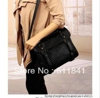 The new women's PU handbag shoulder bag woven bag box