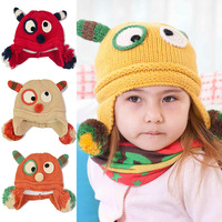 Christmas day 1pc winter fashion thick little monster infant earmuffs knitted hat cute baby warm cap boy girl birthday gift