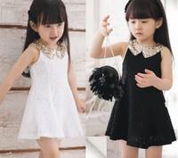 Retail Girl's Formal Dress/Girl's Cotton Sequins Lace Dresses/Children's Sleeveless Glisten Bow Dress/Girl's Summer Dress
