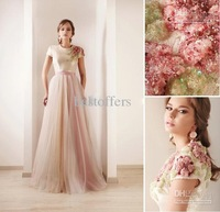 New arrivals colorful long dress vestidos dress long cap sleeves sequin prom dress 2014 DS03