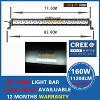 "32"" 160W 11200LM CREE LED Work Light Bar Spot Beam Driving Offroad Lamp Truck Boat Mining 4x4"
