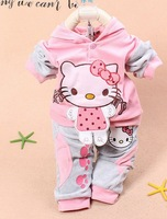 hot selling child autumn KT cat velvet sports suit long-sleeved hooded sweater two-piece sets 3 color free shipping