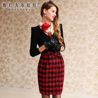 Lovable Secret - Skirt autumn and winter bust skirt red houndstooth woolen slim medium skirt  free shipping