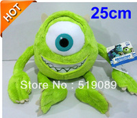 Free Shipping 25cm Mike Monsters University Monster Mike Wazowski Plush Toys,1pcs Monsters Inc plush toys For New Year's Gift