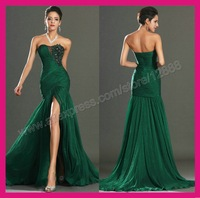 Top Selling Mermaid Style Emerald Green Chiffon Evening Gown Formal Evening Dress 2014